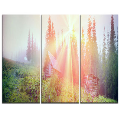 Designart Shepherds Huts In Autumn Forest Landscape Photography Canvas Print - 3 Panels