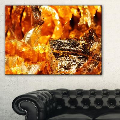 Designart Shiny Orange Gold Foil Abstract CanvasArt Print