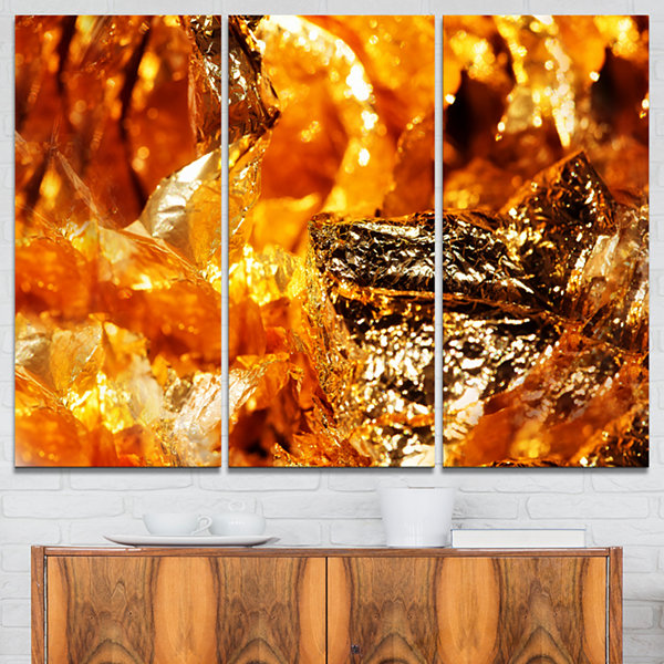 Designart Shiny Orange Gold Foil Abstract CanvasArt Print - 3 Panels