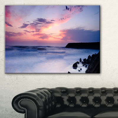 Designart Silky Waters Around Rocks Seashore PhotoCanvas Art Print