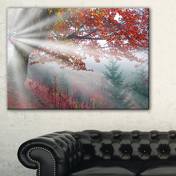 Designart Silver Rays Of Sun After Storm LandscapePhotography Canvas Art Print - 3 Panels