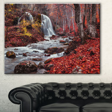 Designart Silver Stream Waterfall Wide LandscapePhotography Canvas Print