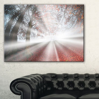 Designart Silver Sun Rays To Foggy Forest Landscape Photo Canvas Art Print