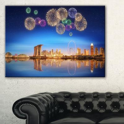 Designart Singapore Skyline Cityscape PhotographyCanvas Art Print - 3 Panels