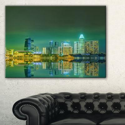 Designart Singapore View From Marina Bay SkylinePhoto Canvas Print - 3 Panels