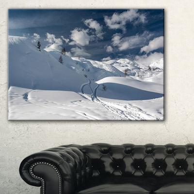 Designart Ski Tracks On A Slope Landscape Photo Canvas Art Print - 3 Panels