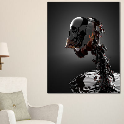 Designart Skull In Liquid Abstract Portrait CanvasPrint