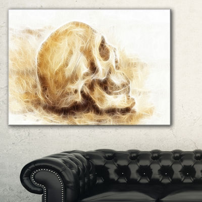 Designart Skull On Paper Fractal Effect AbstractCanvas Art Print - 3 Panels