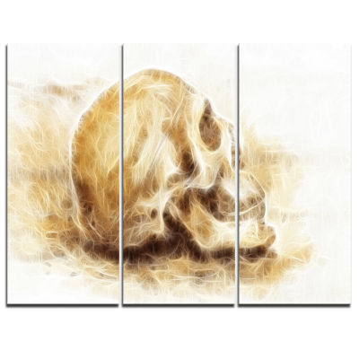 Designart Skull On Paper Fractal Effect Abstract Canvas Art Print - 3 Panels