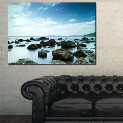 Designart Sleeping Sea Under Blue Sky Landscape Photo Canvas Art Print - 3 Panels