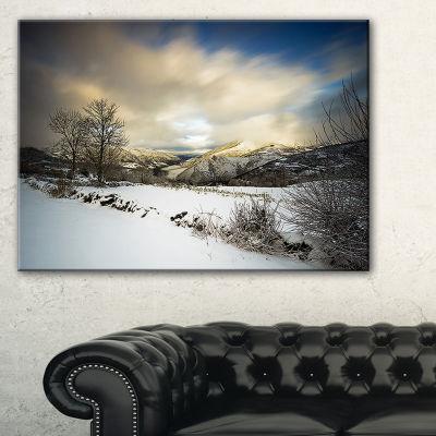 Designart Snow Storm In Spain Landscape Photography Canvas Art Print - 3 Panels