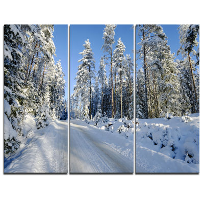 Designart Snowy Blue Winter Landscape PhotographyCanvas Art Print - 3 Panels