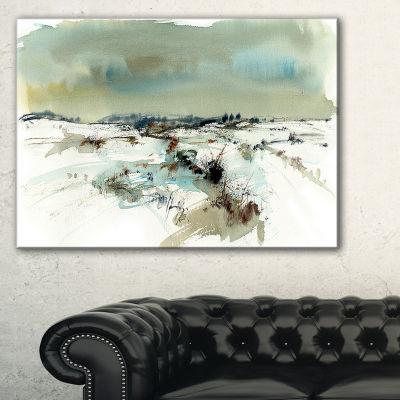 Designart Snowy Landscape Watercolor Landscape Painting Canvas Print - 3 Panels