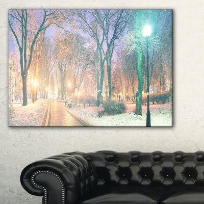 Designart Snowy Path In Mariinsky Garden LandscapePhotography Canvas Print