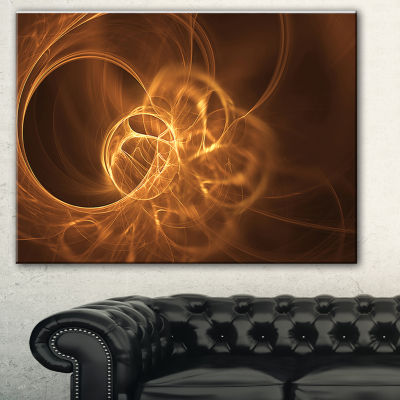 Designart Softly Glowing Circles Golden Abstract Canvas Art Print - 3 Panels