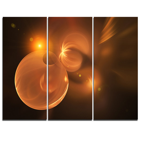 Designart Softly Glowing Circles Yellow AbstractArt - 3 Panels