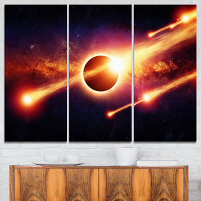 Designart Space Apocalypse Abstract Canvas Art Print - 3 Panels