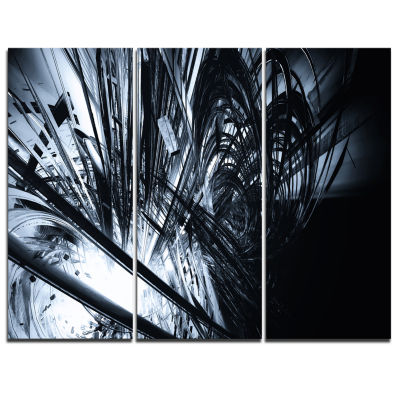 Designart 3D Abstract Art Black White Abstract Canvas Art Print - 3 Panels
