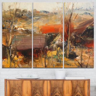 Designart Brown Roofs Heavily Textured LandscapePainting Canvas Art Print - 3 Panels