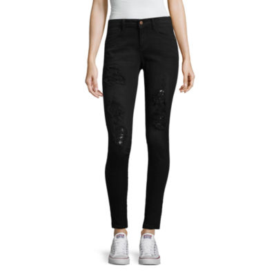 Arizona Destructed Sequin Skinny Fit Jean-Juniors