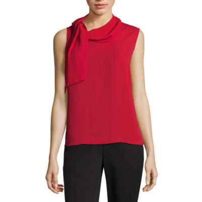 Liz Claiborne Sleeveless Tie Neck Georgette Top