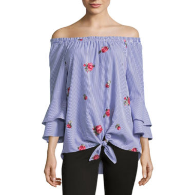 Alyx 3/4 Sleeve Boat Neck Poplin Embroidered Blouse