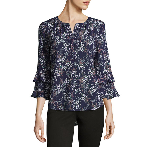 Liz Claiborne 3/4 Ruffled Bell Sleeve Floral Blouse