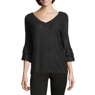 212 NY 3/4 Sleeve V Neck Pullover Sweater