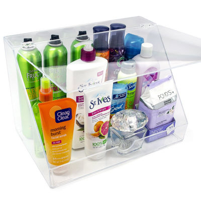 Sorbus Acrylic Makeup Organizer Display Case & Palette Holder with Slanted Front Open Lid