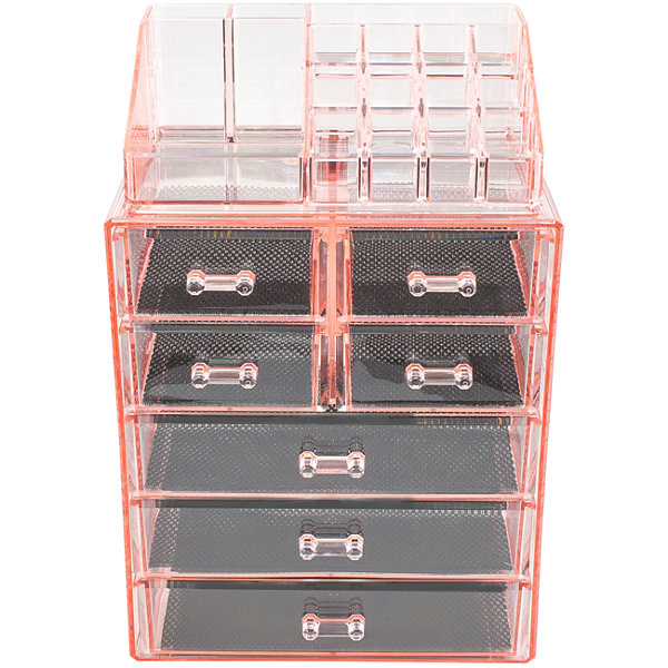 Sorbus Acrylic Cosmetic Makeup and Jewelry StorageCase Display (3 Large 4 Small Drawers)