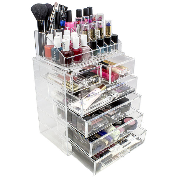 Sorbus Acrylic Cosmetics Makeup and Jewelry Storage Case Display Set