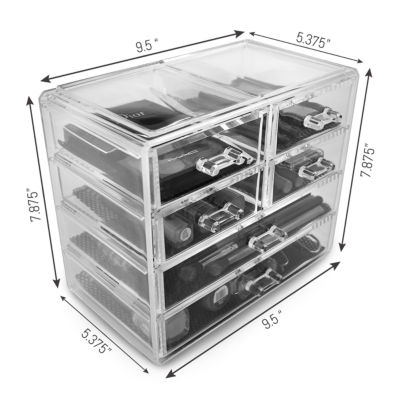 Sorbus Acrylic Cosmetics Makeup and Jewelry Storage Case Display- 2 Large and 4 Small Drawers Space- Saving
