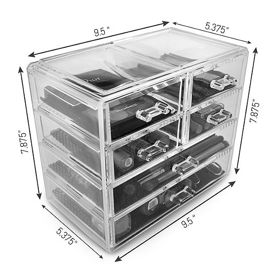 Sorbus Acrylic Cosmetics Makeup And Jewelry Storage Case Display 2 Large And 4 Small Drawers Space Saving