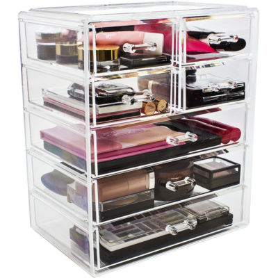 Sorbus Acrylic Cosmetics Makeup And Jewelry Storage Case Display  3 Large  And 4 Small Drawers