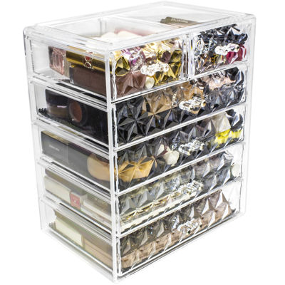 Sorbus Acrylic Cosmetic Makeup and Jewelry StorageCase Display(4 Large/2 Small Drawers)