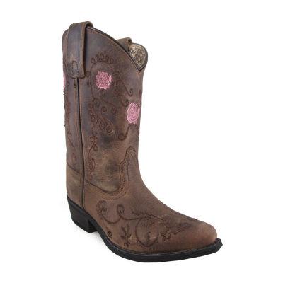 Smoky Mountain Girl's Rosette Oil Distres LeatherCowboy Boot