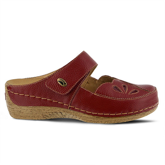 Spring Step Womens Carlotta Round Toe Hook and Loop  Clogs