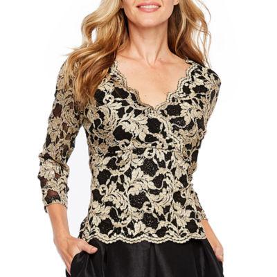 Ronni Nicole 3/4 Sleeve Lace Blouse-Petite