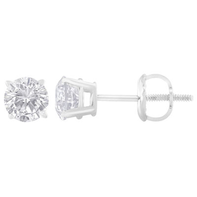 1 CT. T.W. Genuine White Diamond Sterling Silver 4.9mm Stud Earrings