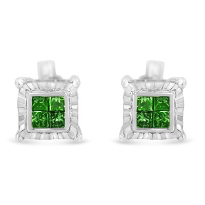 1/2 CT. T.W. Genuine Green Diamond Sterling Silver 7mm Stud Earrings