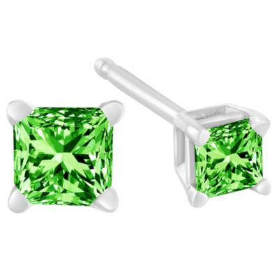 3/8 CT. T.W. Genuine Green Diamond Sterling Silver 15mm Stud Earrings