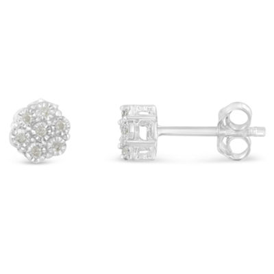 1/6 CT. T.W. Genuine White Diamond Sterling Silver 16mm Stud Earrings