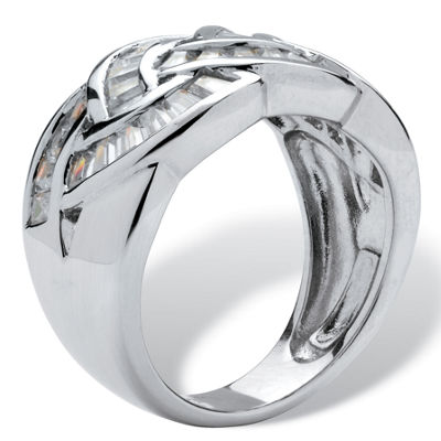 Diamonart Womens 1 3/4 CT. T.W. White Cubic Zirconia Platinum Over Silver Cocktail Ring