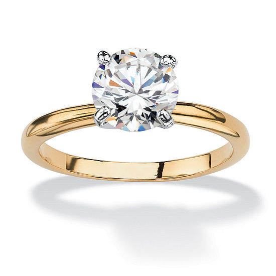 Womens 1 7/8 CT. T.W. White Cubic Zirconia 18K Gold Over Brass Engagement Ring