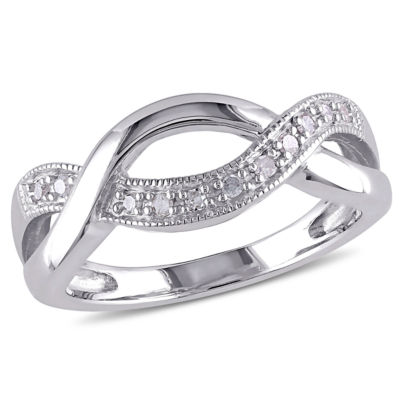 Womens 2mm 1/10 CT. T.W. Genuine White Diamond Sterling Silver Round Crossover Ring