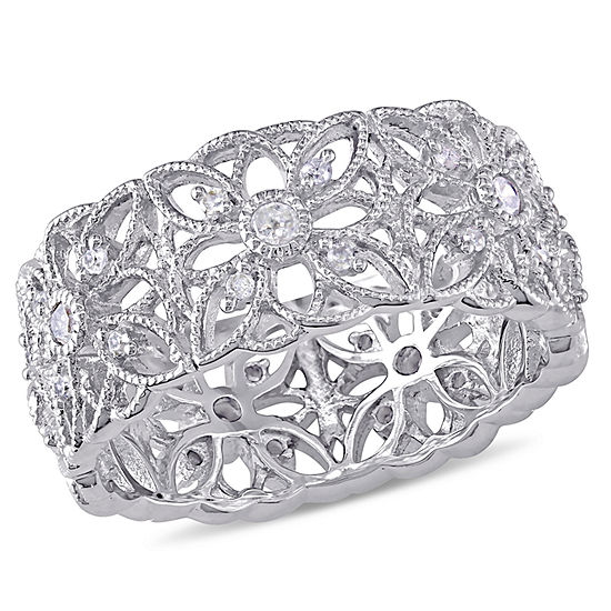 Womens 8.5MM 1/3 CT. T.W. Genuine White Diamond Sterling Silver Round Band