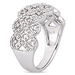 Womens 3mm 1/5 CT. T.W. Genuine White Diamond Sterling Silver Round Band