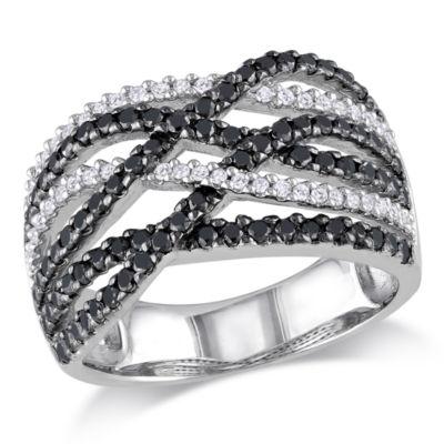 Midnight Black Womens 4.5mm 1 CT. T.W. Genuine Black Diamond Sterling Silver Round Crossover Ring