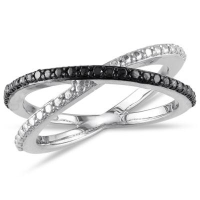 Midnight Black Womens 2mm Diamond Accent Genuine Black Diamond Sterling Silver Round Crossover Ring
