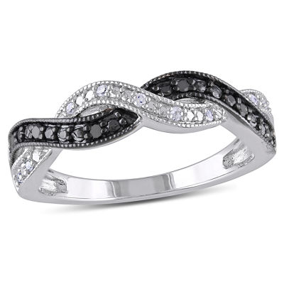 Midnight Black Womens 2MM 1/10 CT. T.W. Genuine Black Diamond Sterling Silver Round Band